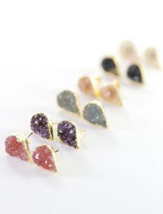Alohi earrings - gold druzy stud earrings | Etsy