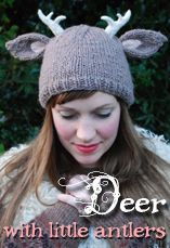 deer with little antlers hat tiny owl knits