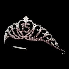Silver Quinceanera 15 Tiara with Light Amethyst and Clear Rhinestones! gorgeous!