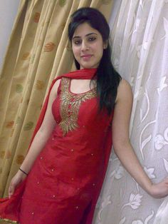 Cute little angel with very innocent desi girlish face in red dress