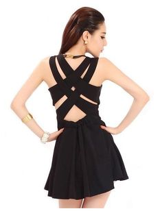 Crisscross Back Black Dress