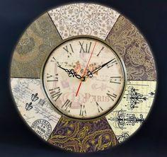 Clock Craft, Diy Clock, Diy Wall Art, Wall Art Decor, Clock Painting, Decoupage Printables, Homemade Art, Vintage Labels, Vintage Ephemera
