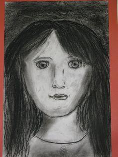"5th grade charcoal self portrait, 12""X18""; art teacher: Susan Joe"