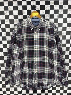 a025222c Vintage 1990's TOMMY Hilfiger Checkered Flannel Mens Xlarge Tommy Jeans  Plaid Checkered Tartan Multicolor Boho Buttondown Oxfords Size XL