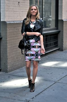 Leather Jacket over printed dress