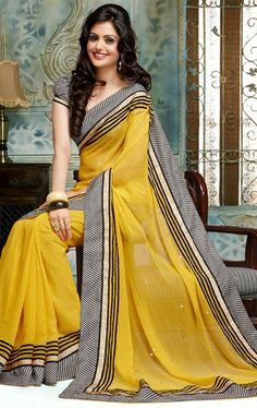 Picture of Delightful Yellow Indian Traditional Silk Saree
