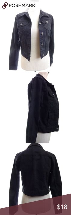 """Black Jean Jacket Crop Medium Black denim crop jacket tag size m armpit to armpit is 17"""" across when flat length from shoulder to hem is about 17.5""""  ws1860 Heritage 1981 Jackets & Coats Jean Jackets"""