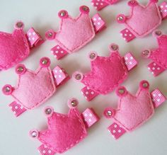 Pretty Pink Felt Princess Crown Hair Clip - You Pick 1 Hot Pink or Light Pink Crown Clippie - Perfect pink clippies for princesses. $3.50, via Etsy.