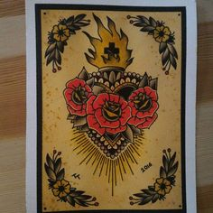 Sacred Heart original Paint by TraditionalTattooIt on Etsy https://www.etsy.com/listing/385957216/sacred-heart-original-paint