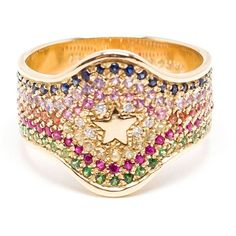 Carolina Bucci 18k Yellow Gold Studded Shield Ring ($3,510) ❤ liked on Polyvore featuring jewelry, rings, metallic, 18k gold jewelry, star jewelry, tri color gold ring, star ring and gold ring