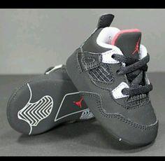 Infants Crib Air Jordan 4 Retro Black Red Soft Bottom Size 2 | eBay