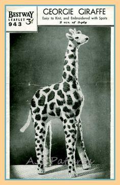 PDF Knitting Pattern for a 1940s Georgie Giraffe by place4patterns, £2.50