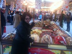 Monica posing with the ridiculous amount of candy at the Southbank Christmas Festival