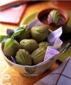 Aiya Matcha - Chocolate Dipped Matcha Madeleines.  Perfectly romantic for Valentine's Day or any other special occasion!