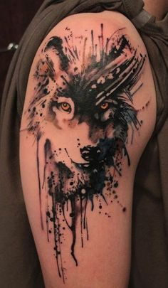 wolf on arm | watercolor tattoos