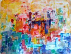 Zon   acryl op linnenpapier op mdf, ingelijst   ca 180 x 140 cm   © Irka Stachiw #art #painting #landscape #irkastachiw