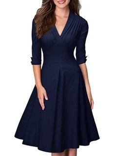 7327e494d2350b MIUSOL Damen Business retro 50er Jahre Kleid Rockabilly Stretch  Cocktailkleid: Amazon.de: Bekleidung