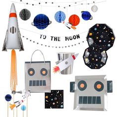 To the Moon Party Complete Party Bundle Party Props, Party Themes, Party Ideas, Alien Party, Outer Space Party, Moon Party, Birthday Party Hats, Mylar Balloons, Star Wars Party