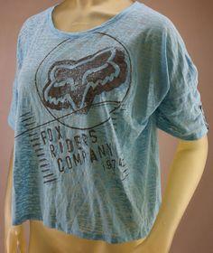 Fox Racing blue burnout T-shirt with black distressed logo