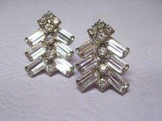 Rhinestone Earrings Wedding Bride Bridal Vintage 1950s Jewelry