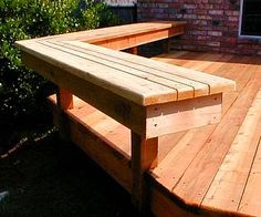 """Good bench Idea. Would work for a high """"counter"""" next to a grill."""
