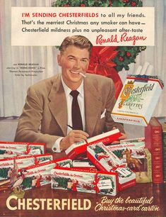 print ads, ronaldreagan, old advertisements, smoking, christmas, chesterfield, vintage ads, smoke, ronald reagan