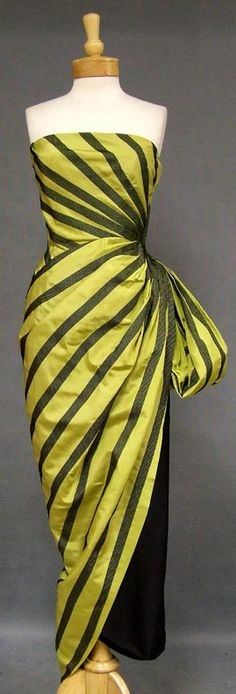 LOVE this dress...Not sure why, but I just do!  helena barieri,  striped taffeta and black satin gown, 1950's