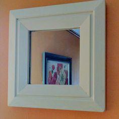 Small Cream Square Wall Mirror - Hidden Gem Furniture