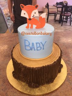 Fox on a woodstump! Baby Shower Cakes, Baby Boy Shower, San Jose California, Woodland Baby, Eat Cake, Babyshower, New Baby Products, Bakery, Fox