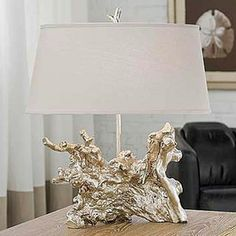 Regina Andrew Amber Silver Root Table Lamp - While it's always wonderful to add the natural element of driftwood or a tree root to a room, t...