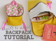 DIY BACKPACK ∙ zipper + snap back to school backpack tutorial Sewing Tutorials, Sewing Crafts, Sewing Projects, Sewing Patterns, Sewing Kits, Bag Patterns, Sewing Ideas, Diy Rucksack, Backpack Tutorial