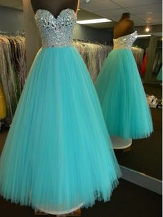 Amazing tulle rhinestones sweetheart neckline blue prom dress...