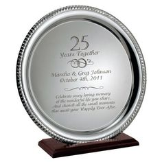 Engraved 25th Silver Wedding Anniversary Plate  sc 1 st  Pinterest & 26 Best 25th (Silver) Anniversary Gifts u0026 Ideas images