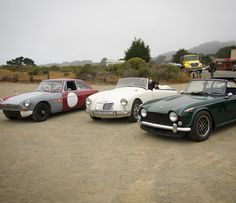 A trio of great British sports cars. #mg #mgbgt #mga #triumph #tr4a #californiamelee #vintagerally #sportscaradventures #sportscarperformance