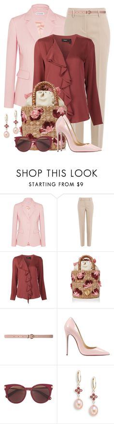 """""""Ruffled Blouse & Embellished Bucket Bag"""" by brendariley-1 ❤ liked on Polyvore featuring Altuzarra, DKNY, Theory, Aranáz, Dorothy Perkins, Christian Louboutin, Salvatore Ferragamo and Saks Fifth Avenue"""
