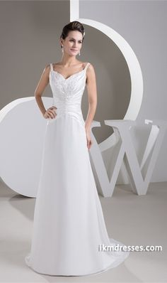 Sweep Train Chiffon Zipper-back Wedding Dress http://www.ikmdresses.com/Sweep-Train-Chiffon-Zipper-back-Wedding-Dress-p21574