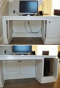 This is a perfect way to hide cords that come out from under your desk. Simple install hinges and cabinet doors to create a stylish hiding space for your wires. The cabinets still allow you to move and change everything you need while still letting you hide it all. Plus it not only hides the wires but also the electrical sockets!