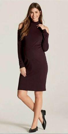 8faa4a06fc (Advertisement)eBay- Next - Maternity Berry Cold Shoulder Dress - Size 10 -