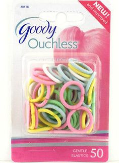 Goody Ouchless Ponytail Hair Elastics - Pastel - 50 Pcs. (30518e)