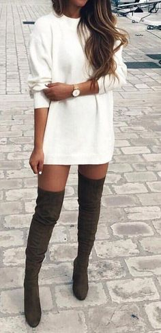 #outfit #ideas ·  White Dress // Knee Length Boots