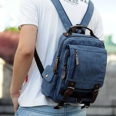 How nice Unique Multi Zippers Square Multifunction Shoulder Bag Canvas College Boy's Backpack  ! I like it ! I want to get it ASAP!