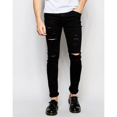 Cheap Monday Tight Slash Jeans Stretch New Black Extreme Rips ($95) ❤ liked on Polyvore featuring men's fashion, men's clothing, men's jeans and new black