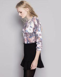 Pull&Bear - mujer - punto - jersey punto flores - granate - 09556307-I2014