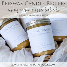 DIY Beeswax Candles made with organic essential oils from Veriditas Botanicals! These recipes are for fall scented candles - Autumn Foliage, Spiced Chai Tea, Mental Clarity, and Citrus & Sage! + free printable labels!