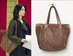 Elementary Season 2, Episode 17: Joan Watson's (Lucy Liu) brown leather perforated tote bag by Free People #elementary #joanwatson #getthelook #freepeople