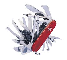 """The Swiss Army knife is a brand of pocket knife or multi-tool manufactured by Victorinox AG and Wenger SA. The term """"Swiss Army knife"""" was coined by US soldiers after World War II due t… Survival Prepping, Survival Skills, Emergency Planning, Emergency Preparedness, Victorinox Knives, Electrical Tape, Diy Camping, Swiss Army Knife"""