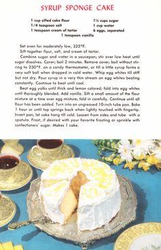 Vintage Cake and Frosting Recipes Cookbook Recipes, Baking Recipes, Dessert Recipes, Grandma's Recipes, Picnic Recipes, Baking Desserts, Frosting Recipes, Health Desserts, Retro Recipes