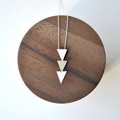 Triangle Necklace Handmade of Bronze and Sterling Silver - Geometric Tribal Necklace Triangle Necklace, Tribal Necklace, Tribal Jewelry, Bronze, Beautiful Necklaces, Geometric Shapes, Handmade Necklaces, Jewelry Stores, Sterling Silver Jewelry