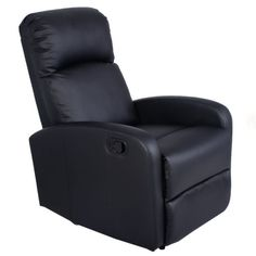 Manual-Recliner-Chair-Black-Lounger-Leather-Sofa-Seat-Home-Theater