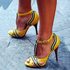 Yellow Patchwork Peep Toe Stiletto Heels #Heels and jeans